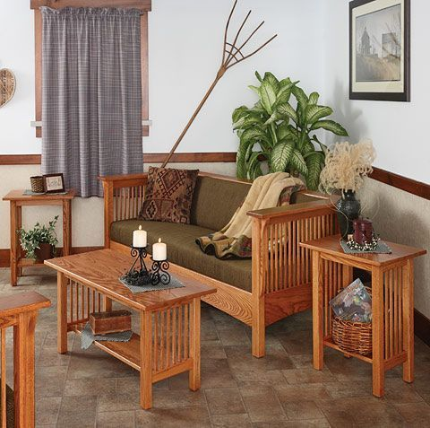 Wooden Amish Made Living Room Suite