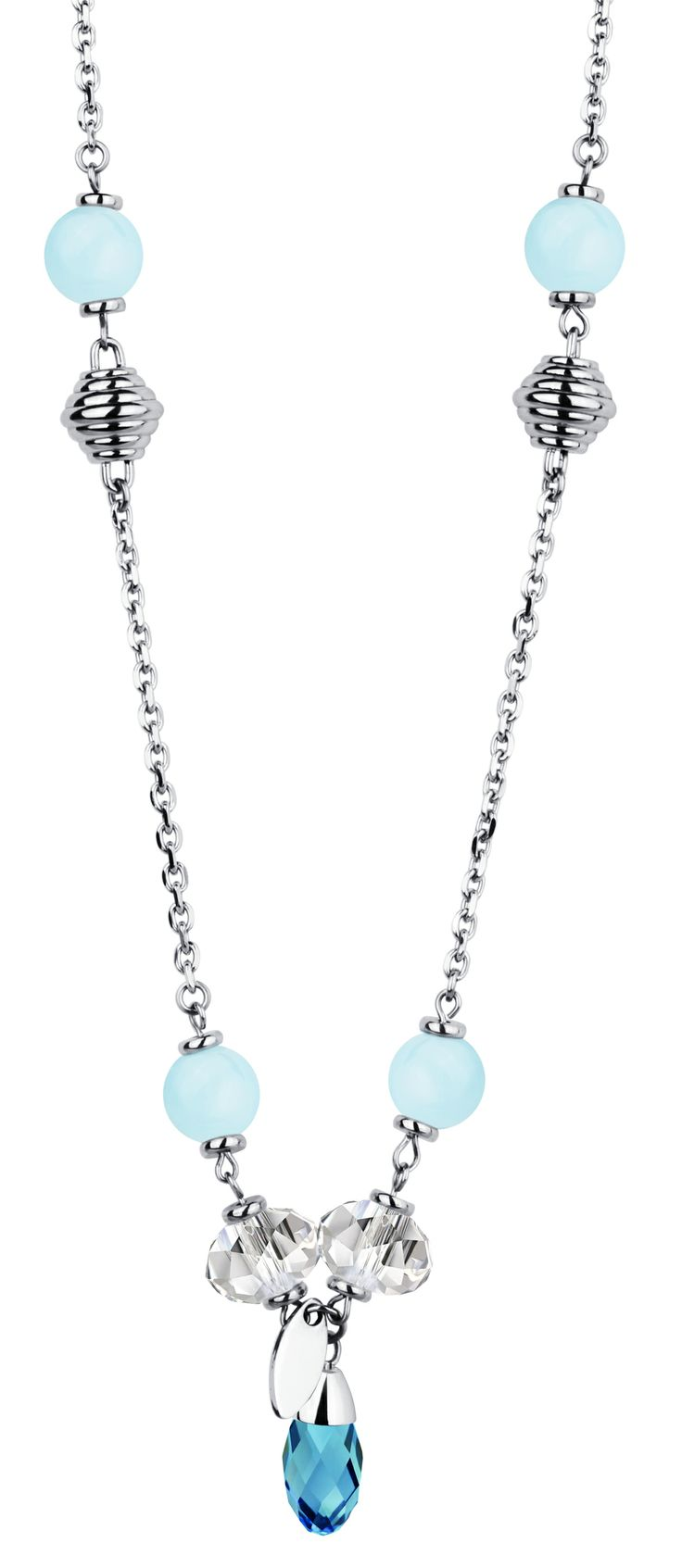 Stainless Steel, Turquoise, White Crystal and Aquamarine Necklace.