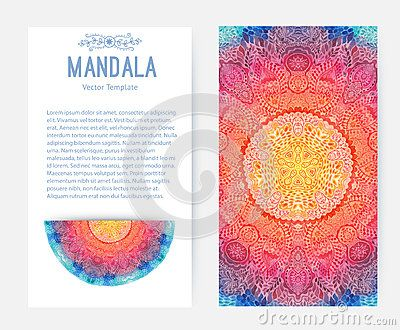 Mandala dell acquerello, ornamento del pizzo fatto del modello rotondo nello stile orientale