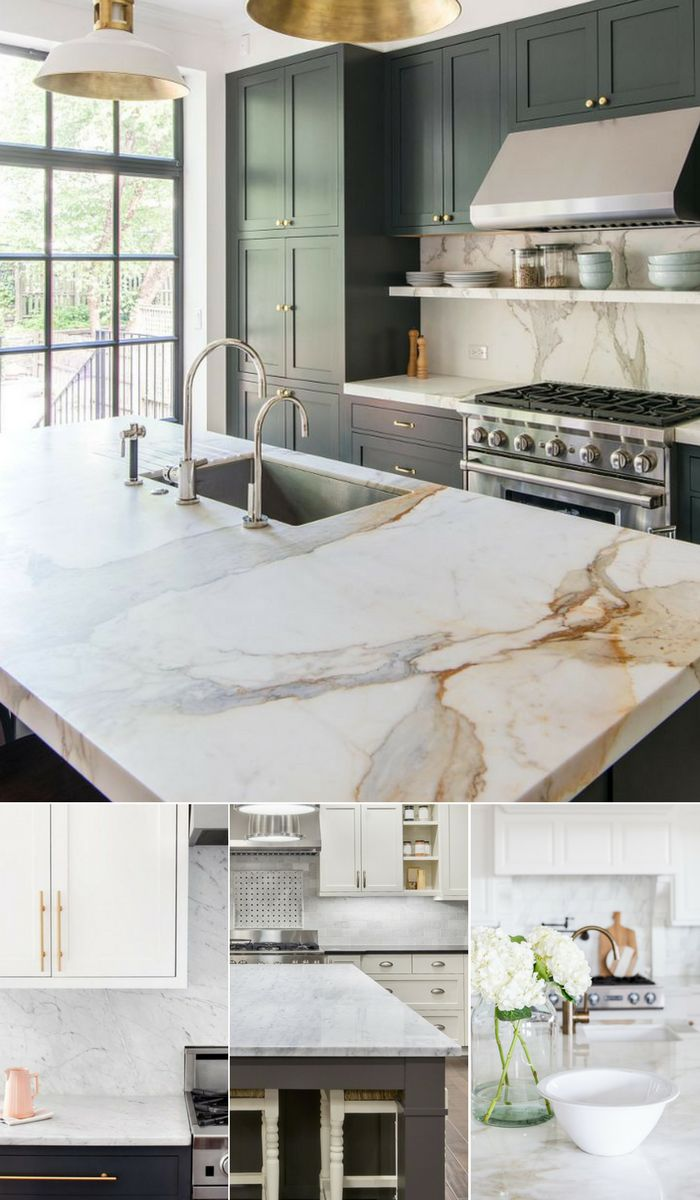 Marble Countertop Inspiration | Marble counters give kitchens a classic, timeless look for years. Ideal for minimalists, contemporary style loves and bakers/pastry chefs.