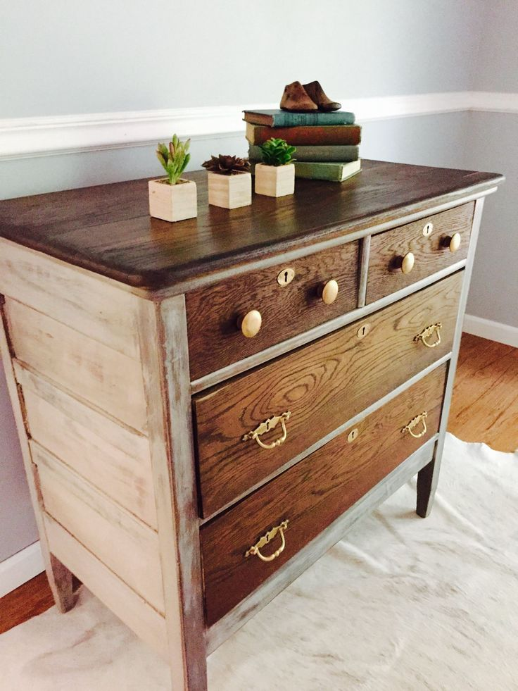 I love how this dresser evolved! Gray, two tone antique dresser, solid oak.