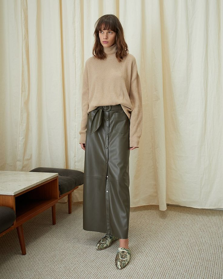 #Nanushka ADELE - Button down leather skirt - Kombu green