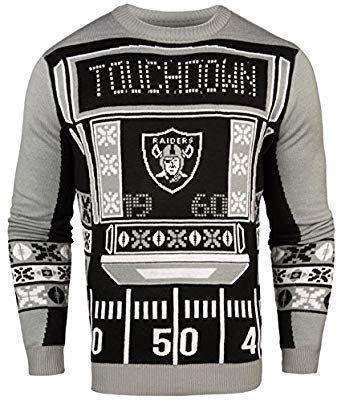0991cd4fd Amazon.com   FOCO NFL Oakland Raiders Mens Ugly Light Up Crew Neck  Sweaterugly Light Up Crew Neck Sweater