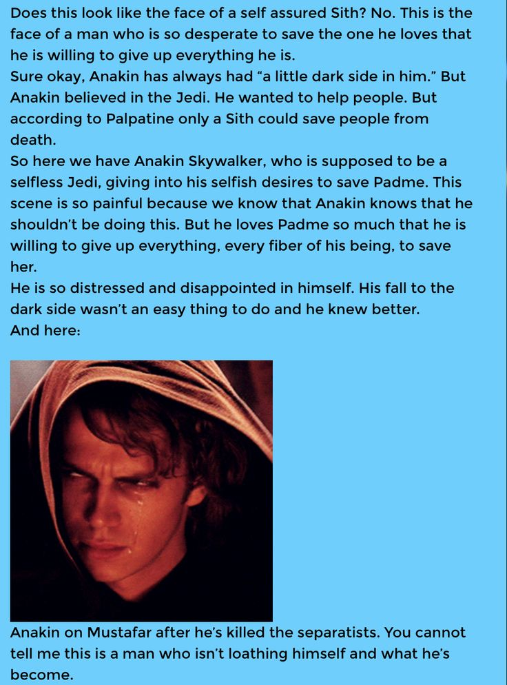 Killing a roomful of children wasn't even the worst thing he ever did. There is no justification for his actions, regardless of how awful his life was. He's not misunderstood, he's not fictional crush material, he's the (admittedly fuckawesome) antagonist of the vastly superior original trilogy.