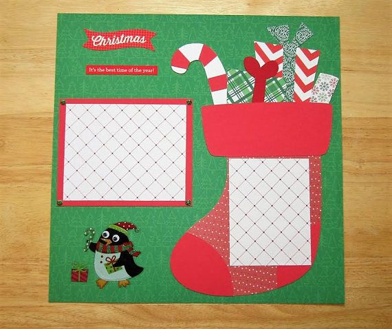 Christmas Scrapbook Page - Christmas Scrapbook Layout - 12 X 12 Scrapbook - Christmas Stocking - St. Nick - Christmas Morning - Premade Page  AngelBDesigns4You