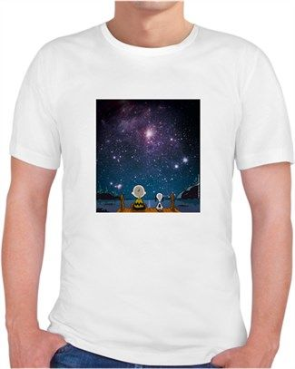 Uzay Boşluğu Snoopy Kendin Tasarla - Erkek V Yaka Tişört