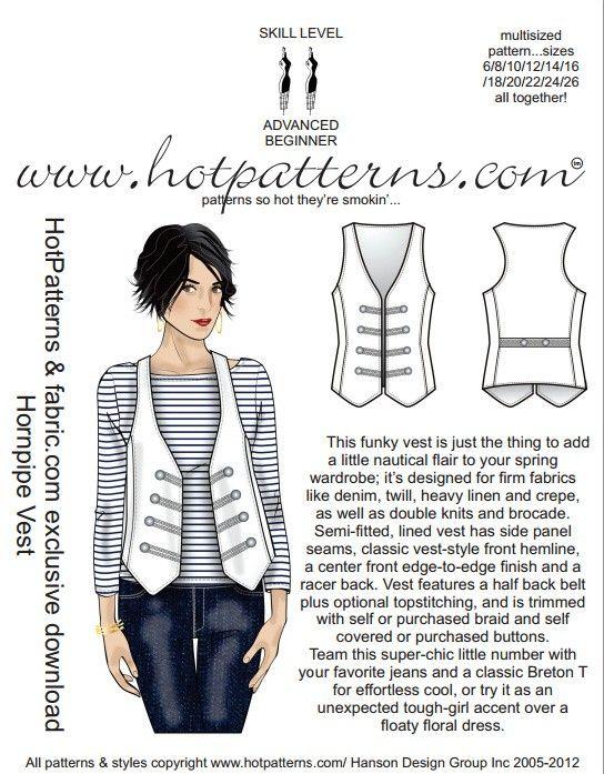 PATTERN! FREE Hornpipe Vest Pattern                              …