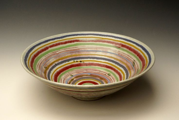 "Bowl - 13"" d. Banded decoration. Fired to Orton cone 9 in a reducing atmosphere. Bands of glaze applied with a trailer."