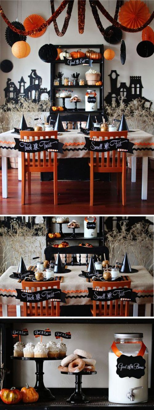 I thought for a second I was in a Pottery Barn Magazine for this Halloween Kid's Table from Loralee Lewis. Such fun details and creativity! and 31 Inspiring Halloween Mantles and Tablescapes to dress up your home this October Season on Frugal Coupon Living.