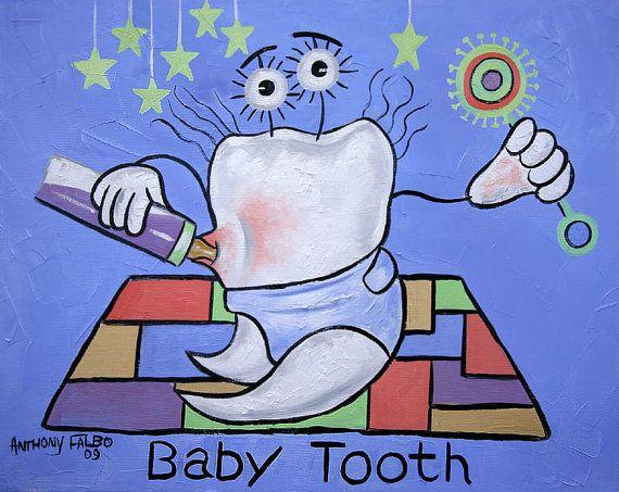 Dent de bébé tirage Poster dents Art dentaire dentiste Collectable Anthony Falbo
