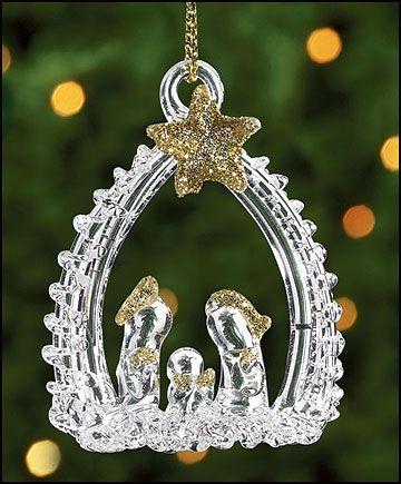 Spun Glass Teardrop Nativity Ornament