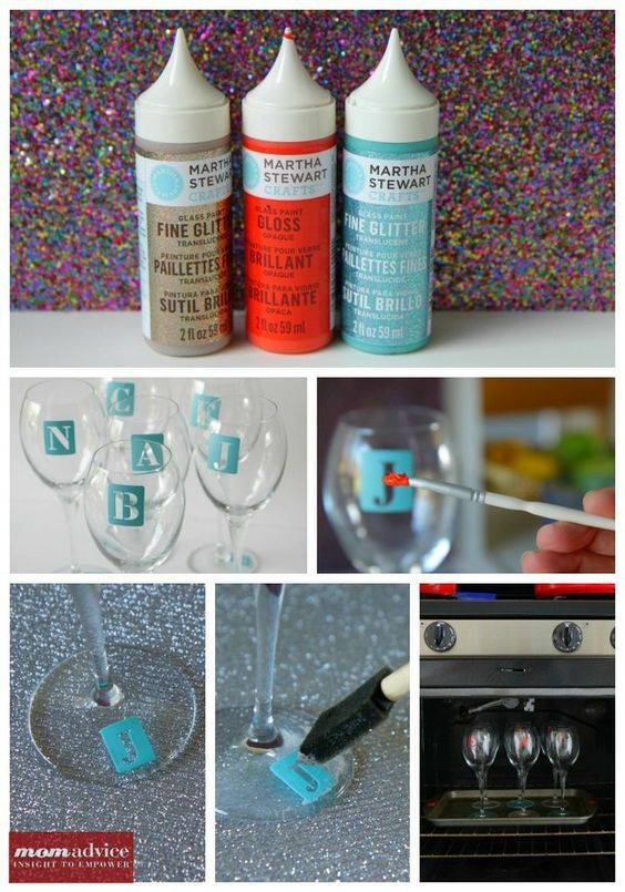 DIY Monogrammed Glasses...would be neat to do with the handled mugs...for weddings....or use images instead so folks cold just remember which was theirs.