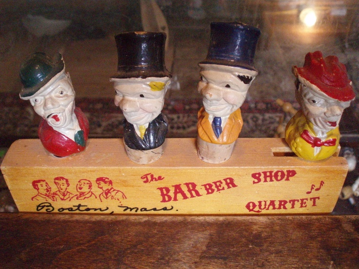 Barware vintage Barber Shop Quartet Marx Bros stoppers FREE SHIP  $100.00 OBO