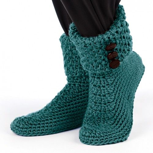 images of free crochet slipper patterns | Mary Maxim - Crochet Buttoned Cuff Boots