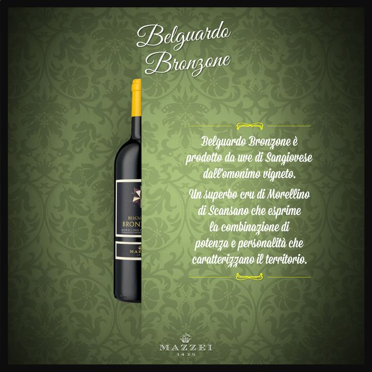 BRONZONE - Bronzone is made of grapes from the Sangiovese' s vineyards. It is a magnificent cru of Morellino di Scansano that expresses a perfect combination of power and personality. @marchesimazzei #winegallery #marchesimazzei #belguardo #wine #tuscany #winelovers