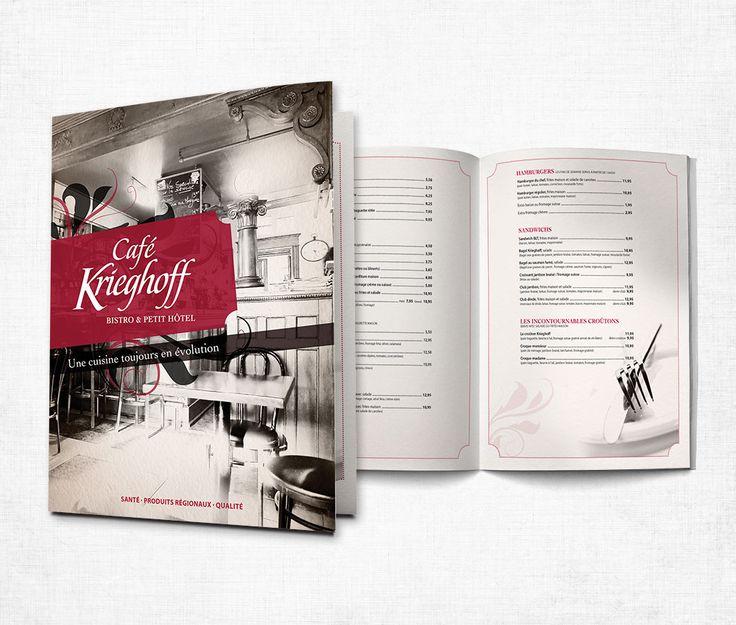 Café Krieghoff : Par souci de cohérance, après avoir complètement revampé son identité visuelle et son site Internet également avec MSCom, Café Krieghoff a changé tout le design de son menu.     Une conception graphique inspirée des photos utilisées du site Internet qui mettent bien de l'avant l'ambiance et la qualité des produits offerts.