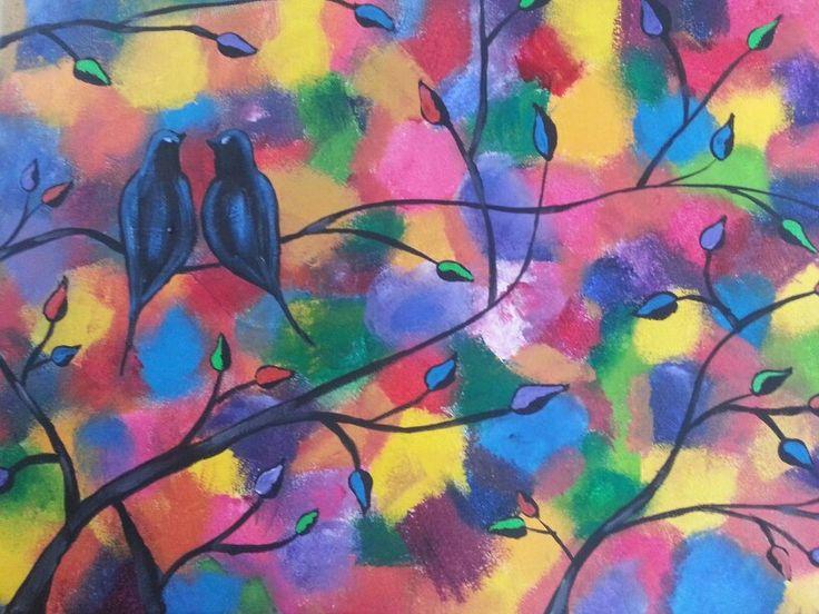 Rainbow love bird pair on tree branch  Acrylic paint on canvas