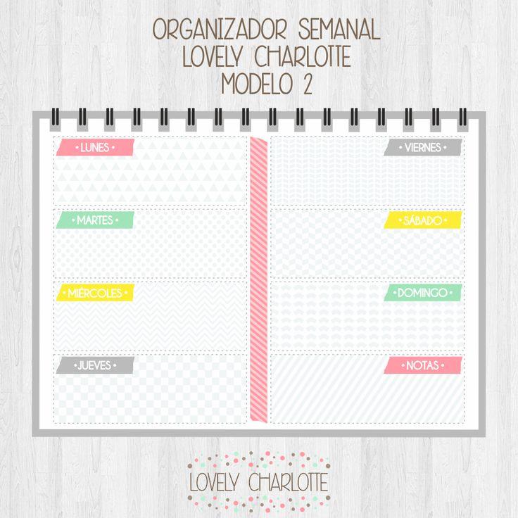 Organizador semanal gratis - Lovely Charlotte http://lovelycharlotteblog.blogspot.com.es/