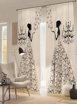 Panel curtains with chandelier and woman in ballgown printed in black & white