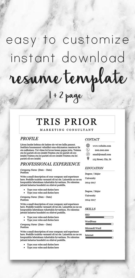 Easy to customize instant download resume template for microsoft word. Includes a 1 and 2 page resume template, cover letter, and reference sheet.