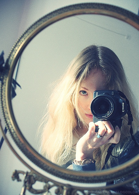 Blonde girl with mirror and Canon camera | Flickr - Photo Sharing!