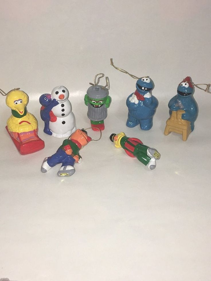 Lot of Vtg Sesame Street Ceramic Ornaments Oscar the Grouch Bert Ernie Grover + #SesameStreet