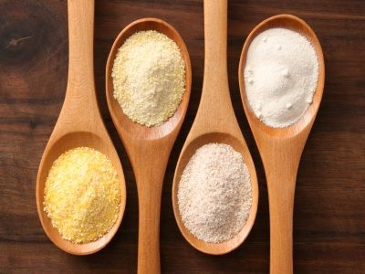 guide to gluten free flours, starches & gums: almond, amaranth, arrowroot, brown rice, buckwheat, coconut, cornmeal, garbanzo, hazelnut, millet, oat, potato, quinoa, sorghum, sweet potato/yam, tapioca, teff, white rice & xanthan