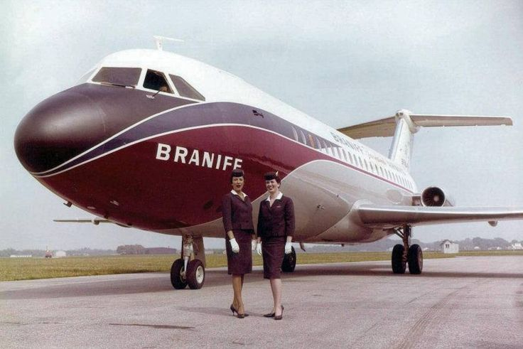 Braniff International BAC 111-203AE One-Eleven N1541 after rolling out of the BAC plant in Hurn, May 1964. Braniff Hostesses Betty Engle and Amber Wacasey were there for the occasion. (Photo: Braniff Flying Colors Collection)