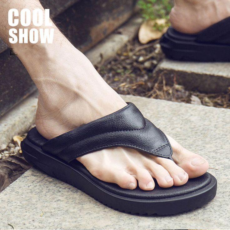 Men's Outdoor Flip Flops Faux Leather Slip On Sandals Anti Skid Summer Slippers  | eBay