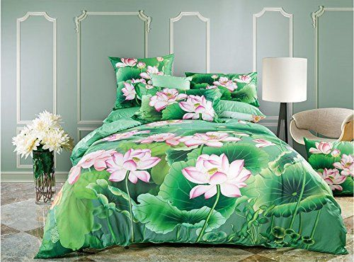 lelva 3d print lotus pattern bedding summer bedding floral duvet cover asia bedding 100 cotton
