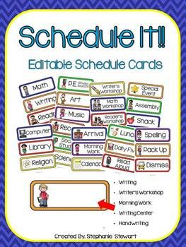 Print and edit these bright schedule cards for your classroom! Can be used as is or customized to fit the needs of your classroom!! Detailed directions to edit font and save files are also included in this file.If you like these schedule cards but prefer a different color scheme, check out: Schedule It! (Bright Schedule Cards) Enjoy :)