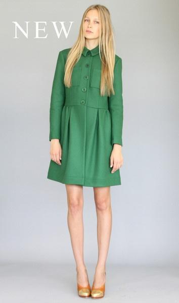 Karen Walker Coat: Long Dresses, Karen O'Neil, Coat Green, Coat Karen, Bare Leg, Green Coat, Karen Walker, Coats