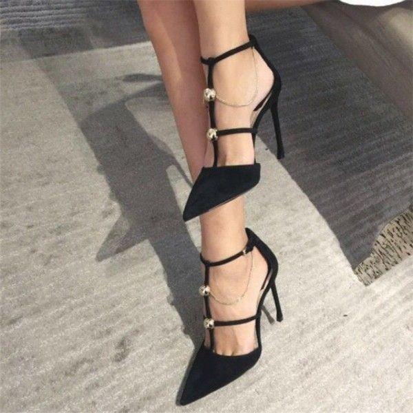 Black Suede Stiletto Heels T Strap Studs Pumps