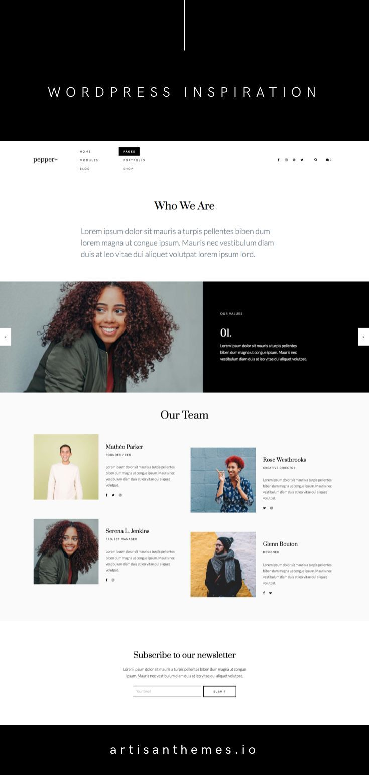 A Cool About Page From Pepper Wordpress Theme By Artisan Themes Exquisite Des Ag With Images Wordpress Website Design Elegant Wordpress Themes Magazine Theme Wordpress