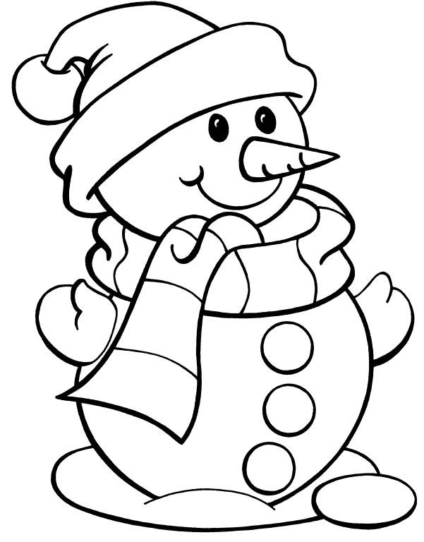 christmas color page snowman | Snowman Wearing Hat Christmas Coloring Pages - Winter Coloring Pages ...