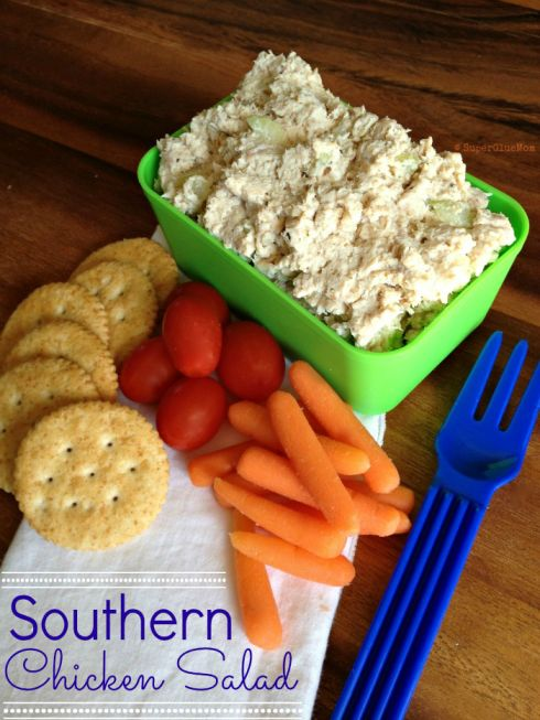Creamy & Zesty Southern Chicken Salad - this one uses very little mayo but instead of shredding the chicken you put it in the food processor to give it the smooth creaminess of deli chicken salad