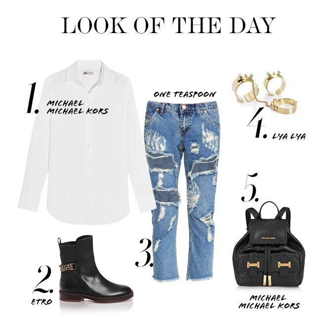 Look of the day! Дополняем рваные джинсы классической белой рубашкой, полусапожками, кожаным рюкзаком, золотыми украшениями и можно смело отправляться на прогулку! #topbrandsru #look #michaelkors #oneteaspoon #etro #lyalya #стиль #образ #тренд