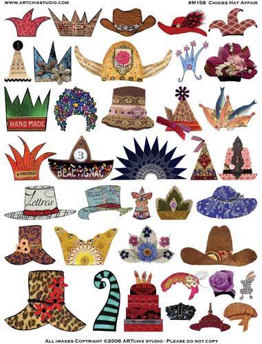 Free Printable Collage Sheets | ARTchix Studio: M158: Chixies Hat Affair Collage Sheet