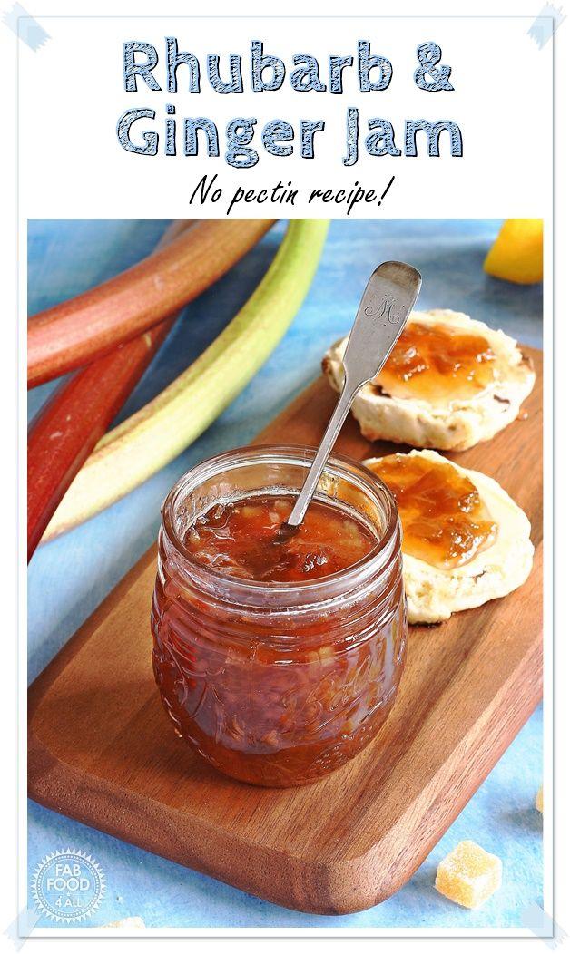 Rhubarb & Ginger Jam – no-pectin recipe! Crystallised stem ginger adds a mellowi…