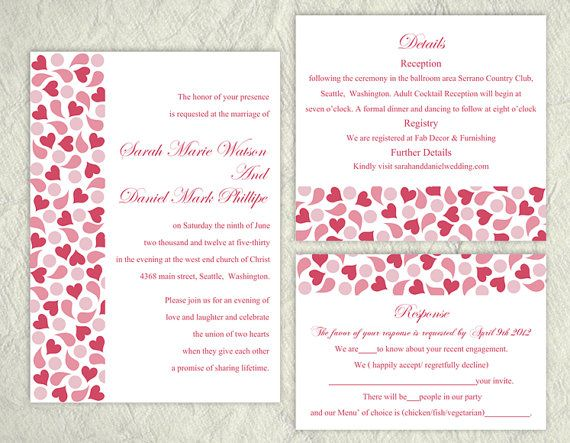 DIY Wedding Invitation Template Set Heart Invitation Printable Pink Invitation by TheDesignsEnchanted on Etsy
