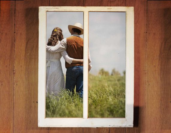 Window Picture Frame - Vintage Window Frame - Wedding Photo Frame - Wedding Gift - Unique Picture Frame - clothespin
