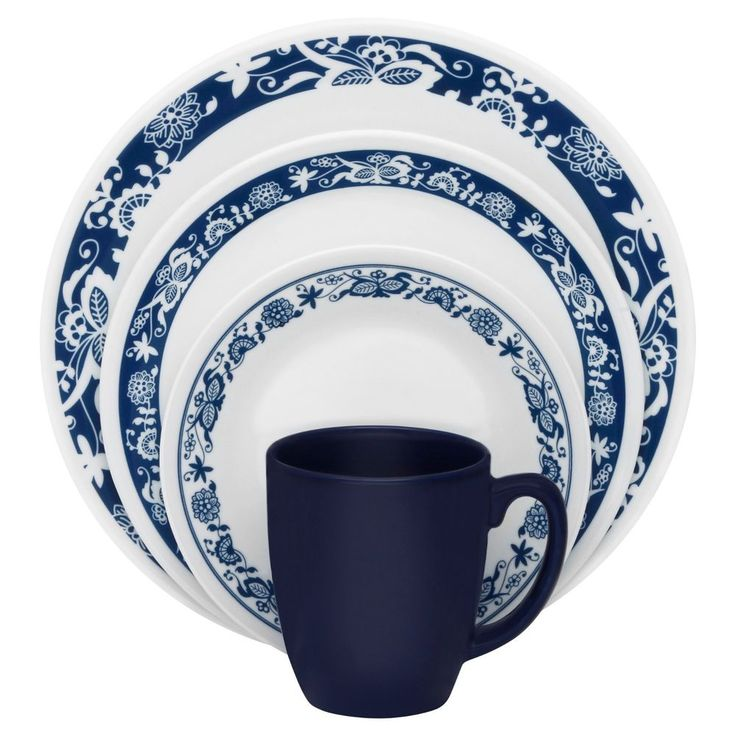 Corelle Livingware True Blue 32-piece Dinnerware Set. Corelle 32-Piece Livingware True Blue Dinnerware Set Break- and chip-resistant, made from patented Vitrelle glass technology. Break- and chip-resistance for carefree durability. | eBay!