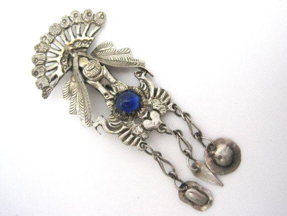 Vintage Tribal Peacock Brooch  Blue Glass Stone by VintageInBloom, $85.00