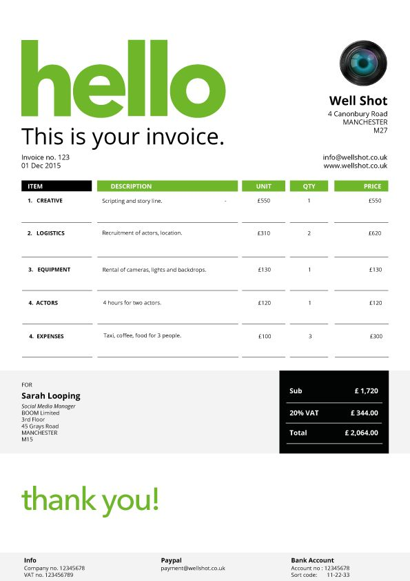 cool invoice template free the-links