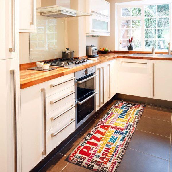 Vysoce odolný kuchyňský koberec Pizza, 60x150 cm