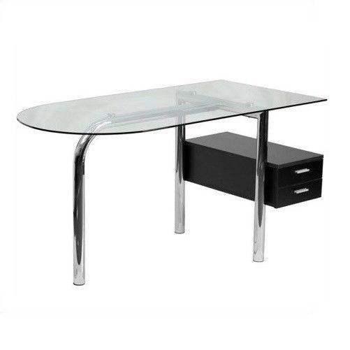 Black Glass Computer Desk For Office Home 2 Drawer Pedestal Chrome Furniture New  | eBay