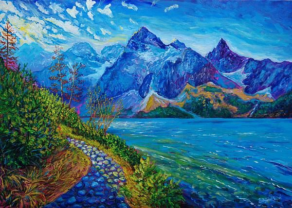 Autumn in the Tara Mountains, Morskie Oko, Poland, acrylic painting, see more at: http://borka-art.blogspot.com