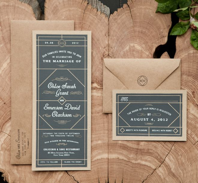 gray & kraft invitation suite / two arms inc.