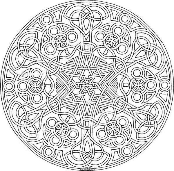 Elaborate celtic mandala cool mandala coloring pages for Elaborate coloring pages