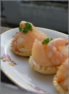 Mini tartelettes aux crevettes et pamplemousse